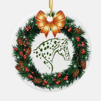 YELLOW BOW GREEN APPALOOSA CHRISTMAS ORNAMENT