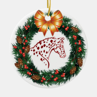 YELLOW BOW RED APPALOOSA CHRISTMAS ORNAMENT