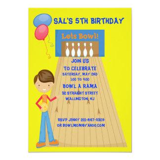 Yellow Boy Bowling Birthday Party Invitation