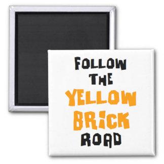 yellow brick road square magnet