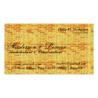 Yellow Brick Wall  Builder Construction Pack Of Standard Business Cards