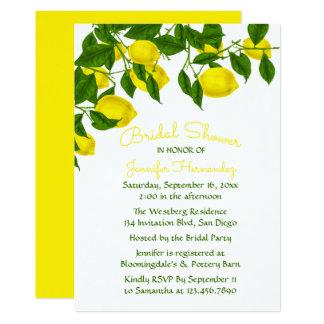 Yellow Bridal Shower  Lemon & Green Watercolor Card