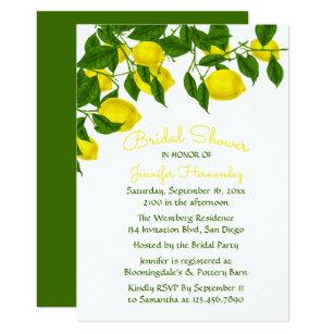 e5de220b07e Yellow Bridal Shower Lemon   Green Watercolor Invitation