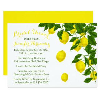 Yellow Bridal Shower Lemons & Green Watercolor Card