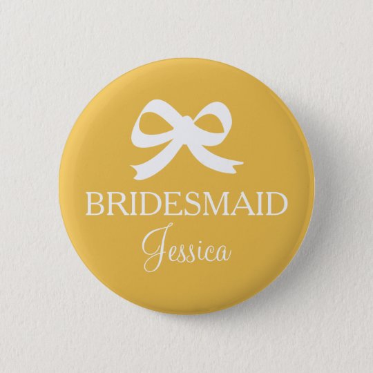 Yellow brides maid button badge for wedding party
