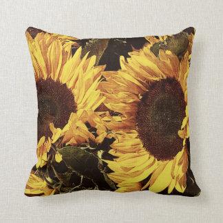 yellow bright sunflowers throw cushion