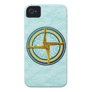 Yellow Brigid's Cross on Blue iPhone 4 Case-Mate Case