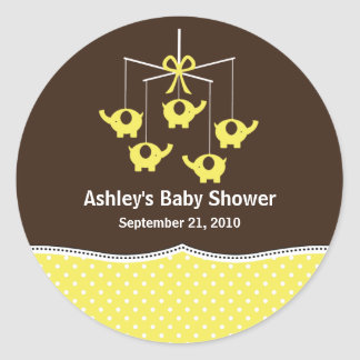 Yellow & Brown Elephant Mobile Baby Shower Round Stickers
