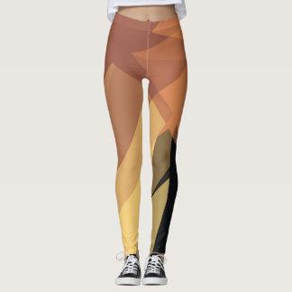 Yellow Brown Modern Geometric Pattern Leggings