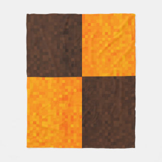 Yellow Brown Mosaic Tile Pattern, Fleece Blanket