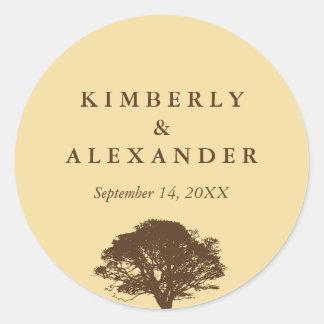 Yellow brown oak tree wedding favor label seal stickers