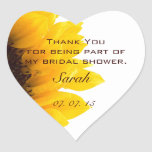 Yellow Brown Sunflower Bridal Shower Thank You Heart Sticker