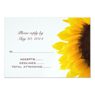 Yellow Brown Sunflower Wedding RSVP Cards Custom Invitation