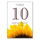 Yellow Brown Sunflower Wedding Table Number Card