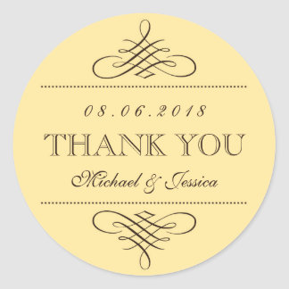 Yellow Brown Swirls Ornament Wedding Stickers
