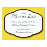 "Yellow Brown & White Wedding Save the Dates 4.25"" X 5.5"" Invitation Card"