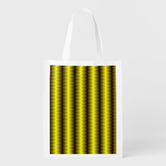 Yellow-brown zigzag reusable grocery bag