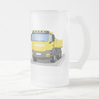 yellow building sites truck frosted glass beer mug