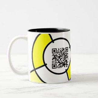 yellow bullseye QR code Two-Tone Coffee Mug