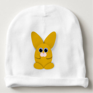 Yellow Bunn on White Baby Hat Baby Beanie