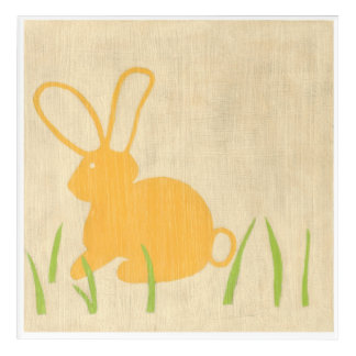 Yellow Bunny and Green Grass by Chariklia Zarris Acrylic Wall Art