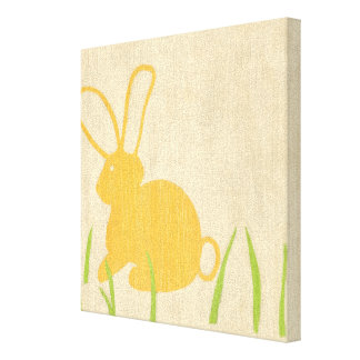 Yellow Bunny and Green Grass by Chariklia Zarris Canvas Print