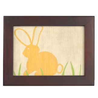 Yellow Bunny and Green Grass by Chariklia Zarris Keepsake Box