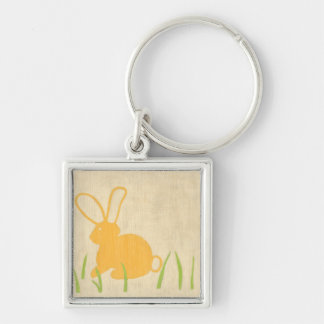 Yellow Bunny and Green Grass by Chariklia Zarris Key Ring