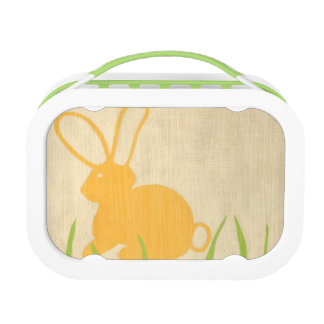Yellow Bunny and Green Grass by Chariklia Zarris Lunch Box