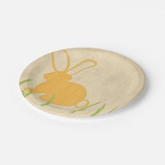 Yellow Bunny and Green Grass by Chariklia Zarris Paper Plate