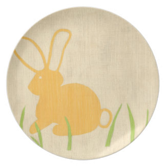Yellow Bunny and Green Grass by Chariklia Zarris Plate