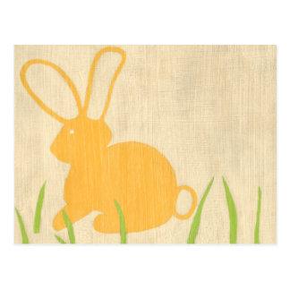 Yellow Bunny and Green Grass by Chariklia Zarris Postcard