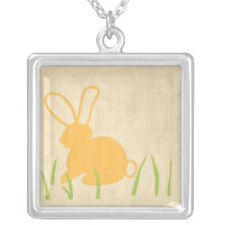 Yellow Bunny and Green Grass by Chariklia Zarris Silver Plated Necklace