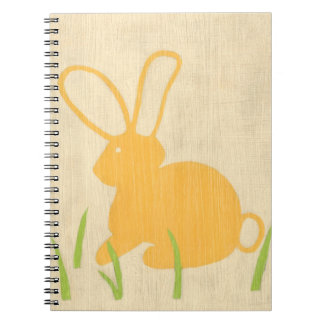 Yellow Bunny and Green Grass by Chariklia Zarris Spiral Notebook