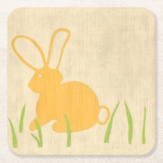 Yellow Bunny and Green Grass by Chariklia Zarris Square Paper Coaster
