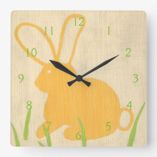 Yellow Bunny and Green Grass by Chariklia Zarris Square Wall Clock