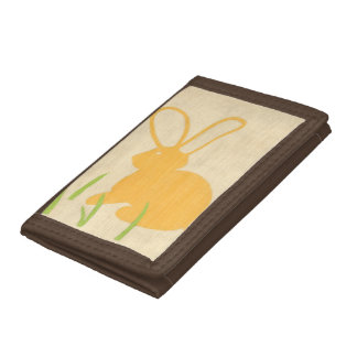 Yellow Bunny and Green Grass by Chariklia Zarris Trifold Wallets