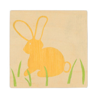 Yellow Bunny and Green Grass by Chariklia Zarris Wood Coaster