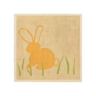 Yellow Bunny and Green Grass by Chariklia Zarris Wood Wall Decor