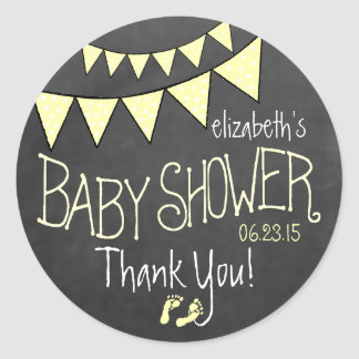 Yellow Bunting Flags Chalkboard Look- Baby Shower Classic Round Sticker