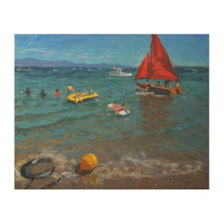Yellow buoy and red sails Abersoch 2012 Wood Print