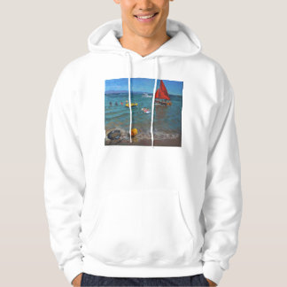 Yellow Buoy and Red Sails Abersoch Hoodie