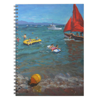 Yellow Buoy and Red Sails Abersoch Spiral Notebooks