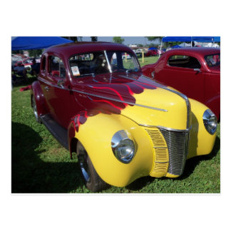 Yellow & Burgundy Hot Rod Postcard