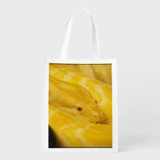 Yellow Burmese Python Reusable Grocery Bags