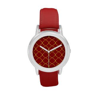 Yellow & Burnt Red Quatrefoil Wrist Watch