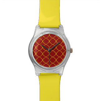 Yellow & Burnt Red Quatrefoil Watches