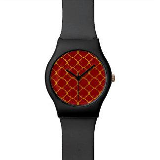 Yellow & Burnt Red Quatrefoil Wristwatches