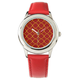 Yellow & Burnt Red Quatrefoil Watch