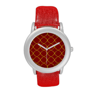 Yellow Burnt Red Quatrefoil Watches